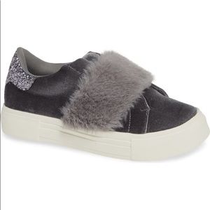 Caisi Faux Fur Glitter Slip-On Sneaker